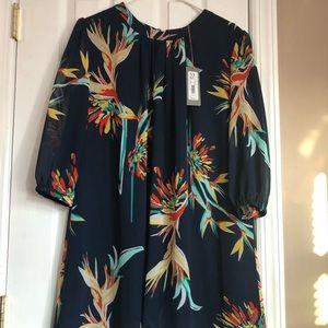 NY&CO chiffon navy blue flower print dress NWT